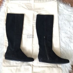 EILEEN FISHER Black Nubuck Stretch Back Knee Boots